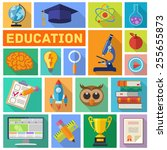 online education and e learning ... | Shutterstock .eps vector #255655873