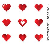 red heart icon set vector | Shutterstock .eps vector #255657643