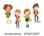 teenager's characters | Shutterstock .eps vector #255673507