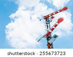 railroad signal poles on sky | Shutterstock . vector #255673723