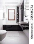 luxury washroom in black and...