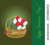 valentines day card with tulips ... | Shutterstock . vector #255686053