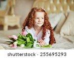portrait of cute little redhead ... | Shutterstock . vector #255695293