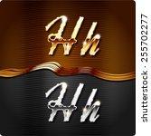 golden stylish italic letters... | Shutterstock .eps vector #255702277