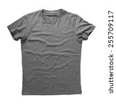 grey shirt isolated on white... | Shutterstock . vector #255709117