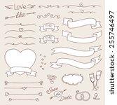 vector wedding vintage set of... | Shutterstock .eps vector #255746497