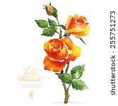Vector Watercolor Flower On...
