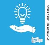 flat hand giving light lamp... | Shutterstock .eps vector #255755503