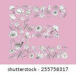 flower alphabet  e | Shutterstock .eps vector #255758317