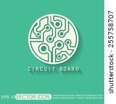circuit board sign icon.... | Shutterstock .eps vector #255758707
