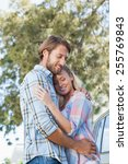 cute couple standing and... | Shutterstock . vector #255769843
