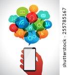 smart phone communication... | Shutterstock .eps vector #255785167