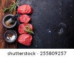raw fresh marbled meat steak... | Shutterstock . vector #255809257
