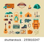 hiking  mountain climbing and... | Shutterstock .eps vector #255810247