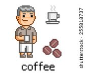 pixel art man and a mug of... | Shutterstock . vector #255818737