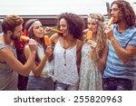 hipster friends enjoying ice... | Shutterstock . vector #255820963