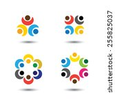 set of colorful people icons in ... | Shutterstock .eps vector #255825037