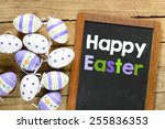 happy easter background with... | Shutterstock . vector #255836353