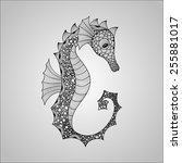 vector seahorse  black on... | Shutterstock .eps vector #255881017
