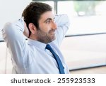 businessman sitting and... | Shutterstock . vector #255923533