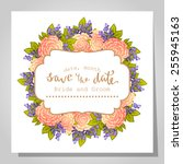 wedding invitation cards with... | Shutterstock .eps vector #255945163