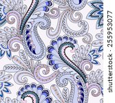 seamless pattern with paisley...   Shutterstock .eps vector #255953077