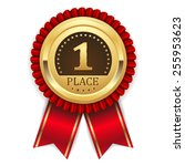 gold first place badge with red ... | Shutterstock .eps vector #255953623