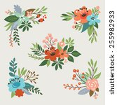 floral vector collection | Shutterstock .eps vector #255982933