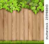 wooden fence  grass and tree... | Shutterstock .eps vector #255988843