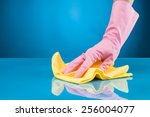 hand with rubber glove cleaning ... | Shutterstock . vector #256004077