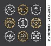 vector crossfit logos and... | Shutterstock .eps vector #256010887