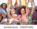 excited young people singing... | Shutterstock . vector #256031683