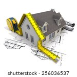 3d rendering of a house with a... | Shutterstock . vector #256036537