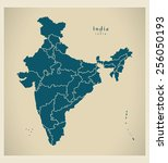 modern map   india with federal ... | Shutterstock .eps vector #256050193