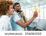creative business team pointing ... | Shutterstock . vector #256081033