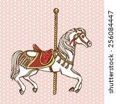 hand drawn vintage carousel... | Shutterstock .eps vector #256084447