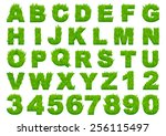 grass alphabet depicting... | Shutterstock .eps vector #256115497