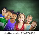 multi ethnic group of children... | Shutterstock . vector #256127413