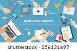 medical team desktop with... | Shutterstock .eps vector #256131697