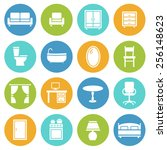 furniture decorative icons set  ... | Shutterstock .eps vector #256148623