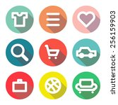 set of icons with long shadow... | Shutterstock .eps vector #256159903