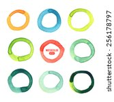 multicolored circles painted in ... | Shutterstock .eps vector #256178797