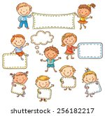 little cartoon kids with blank... | Shutterstock .eps vector #256182217