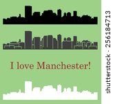 manchester  city silhouette  | Shutterstock .eps vector #256184713