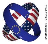 trade agreement usa and eu....   Shutterstock . vector #256191913