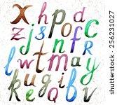 watercolor vector alphabet.... | Shutterstock .eps vector #256231027
