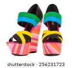 Multicolored Female Shoes On A...
