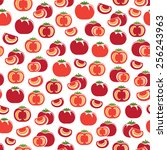 seamless pattern with tomatoes | Shutterstock .eps vector #256243963