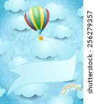 hot air balloon and banner on...   Shutterstock .eps vector #256279357