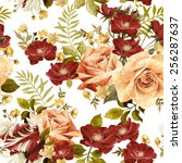 seamless floral pattern with... | Shutterstock .eps vector #256287637